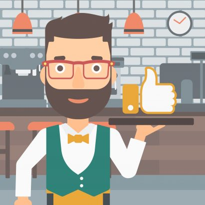 A hipster waiter with the beard carrying a tray with like button on a cafe background vector flat design illustration. Square layout.